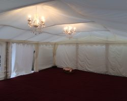 6m x 8m marquee with carpet and lining